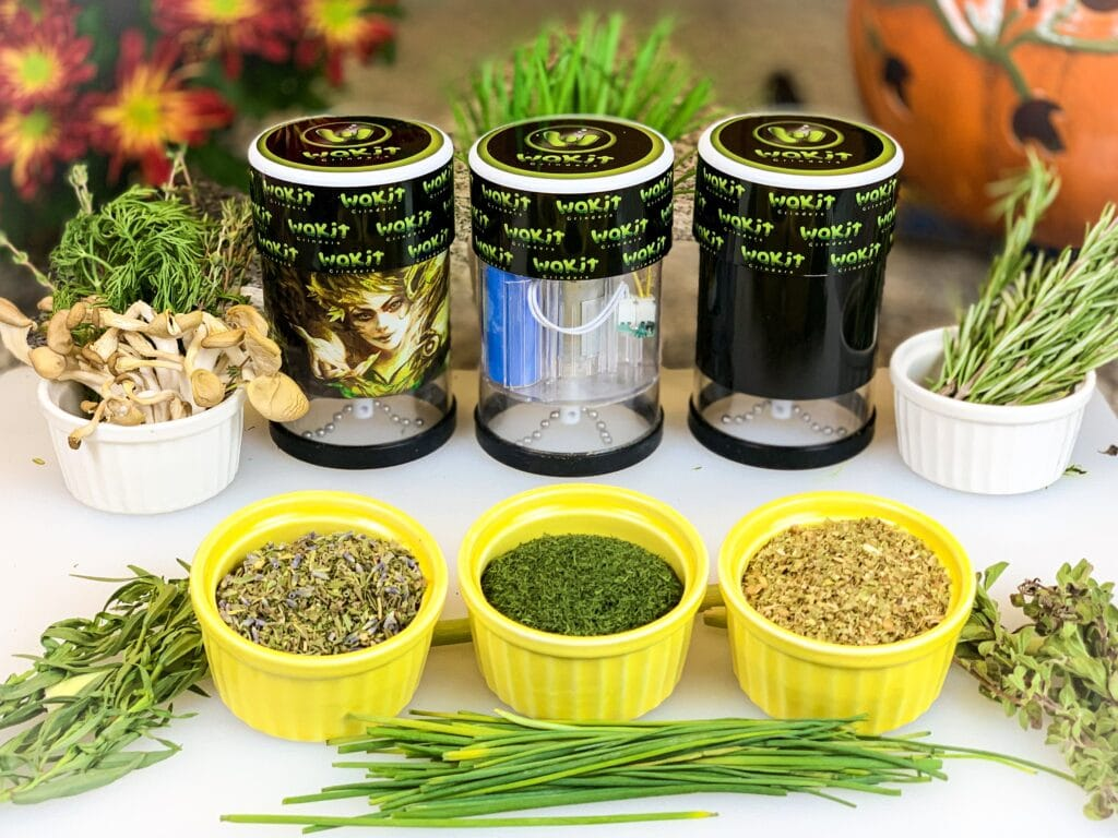 Wakit electric herb grinder with Herb and Mushrooms - Wakit Grinders
