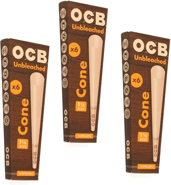 OCB Virgin Unbleached 1 1/4 Size Cone: 3 pack