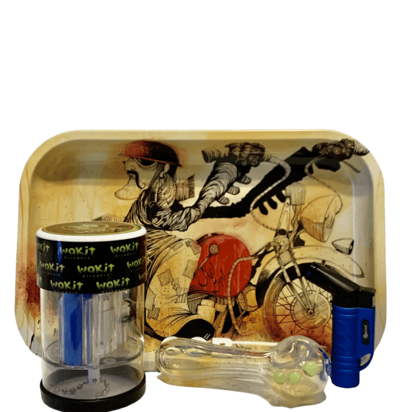 Wakit Grinder Lucid and Motorcycle Rolling Tray Bundle