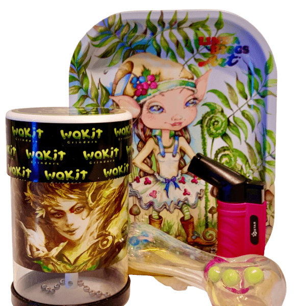 Wakit Grinder Tree Goddess and Elf Ears Rolling Tray Bundle